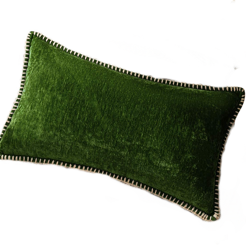 "Dark Green Velvet Lumbar Pillow [QTY 4, 12"" x 20""]"
