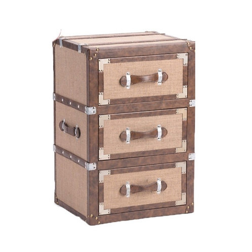 "Three-Drawer Glamping Side Table [QTY1, 19""W x 29""H x 15.5""L]"