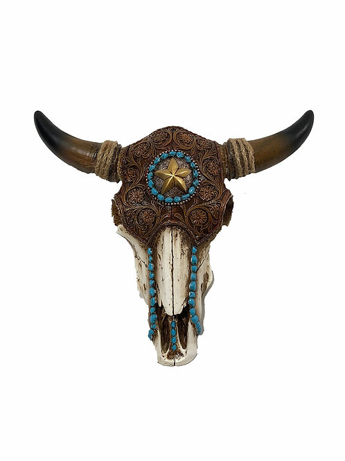 Wooden Cattle Skull with Turquoise [QTY1]