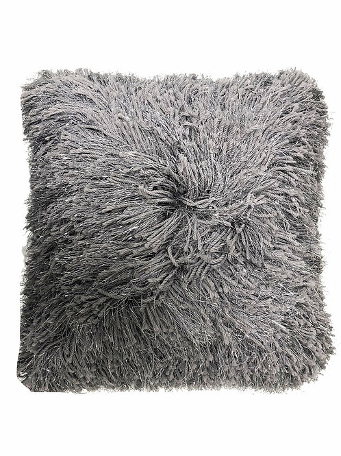 "Silver Shag Pillow [QTY 4, 16"" x 16""]"