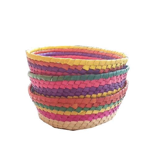 "Handwoven Mexican Baskets [QTY1, 8""D x 8""L x 2.3""W]"
