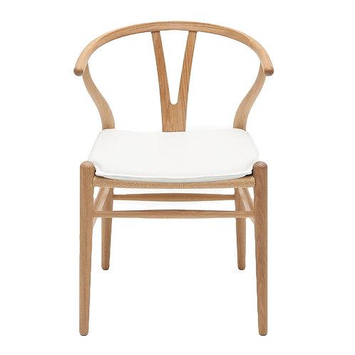 Natural Wishbone Dining Chair - White Cushion [QTY 210]