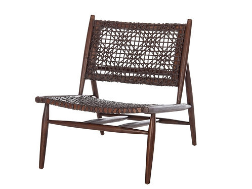 """Woven Leather Accent Chair - Brown [QTY4,31""""Hx26""""Wx32""""D]"""