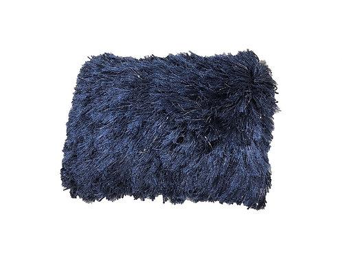 """Navy Shag Lumbar Pillow [QTY 2, 14"""" x 18""""]"""