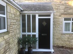 Composite front door and side panels