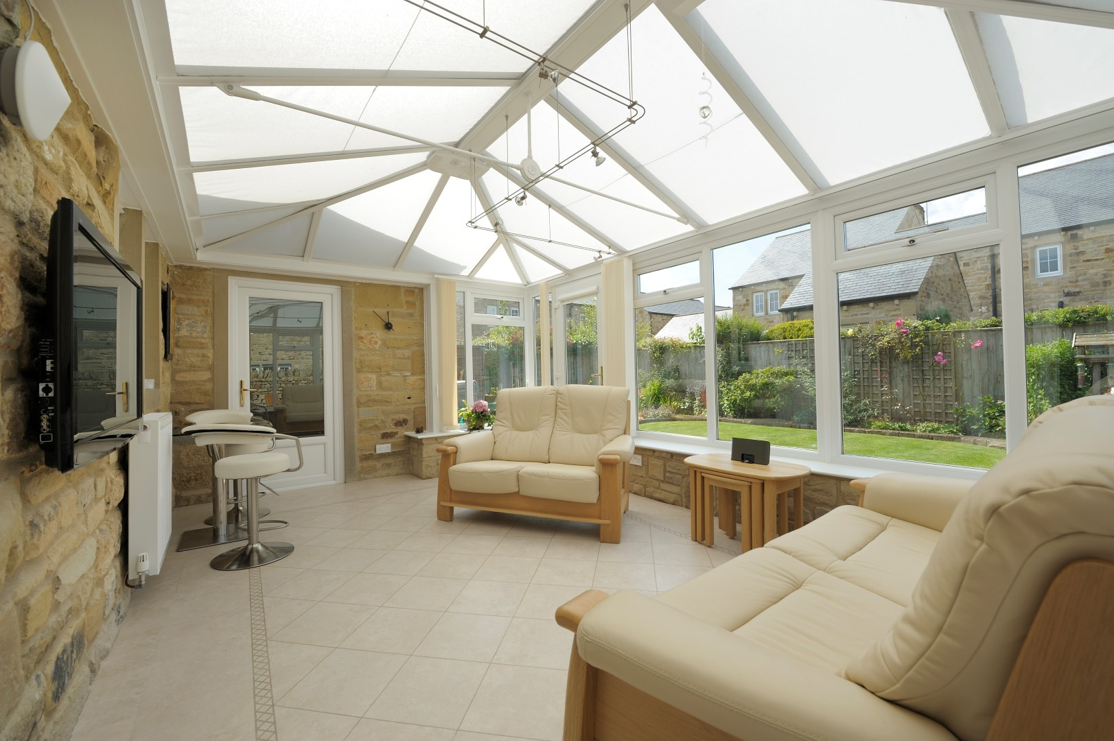 White PVCU glazed roof