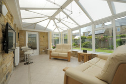 White PVCU glazed roof