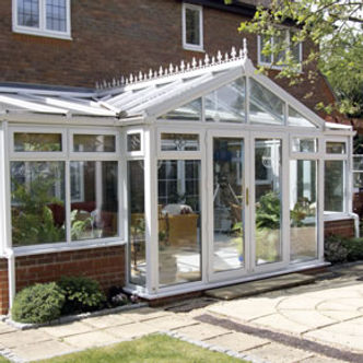 White PVCU windows and double glazed roof