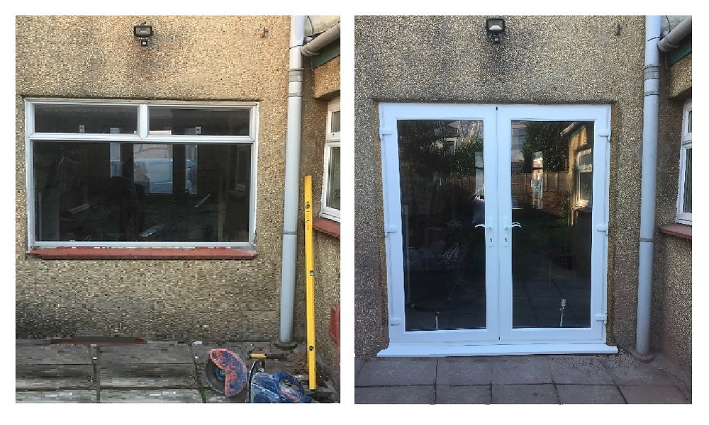 Double glazing - knock through for new French doors, Bristol