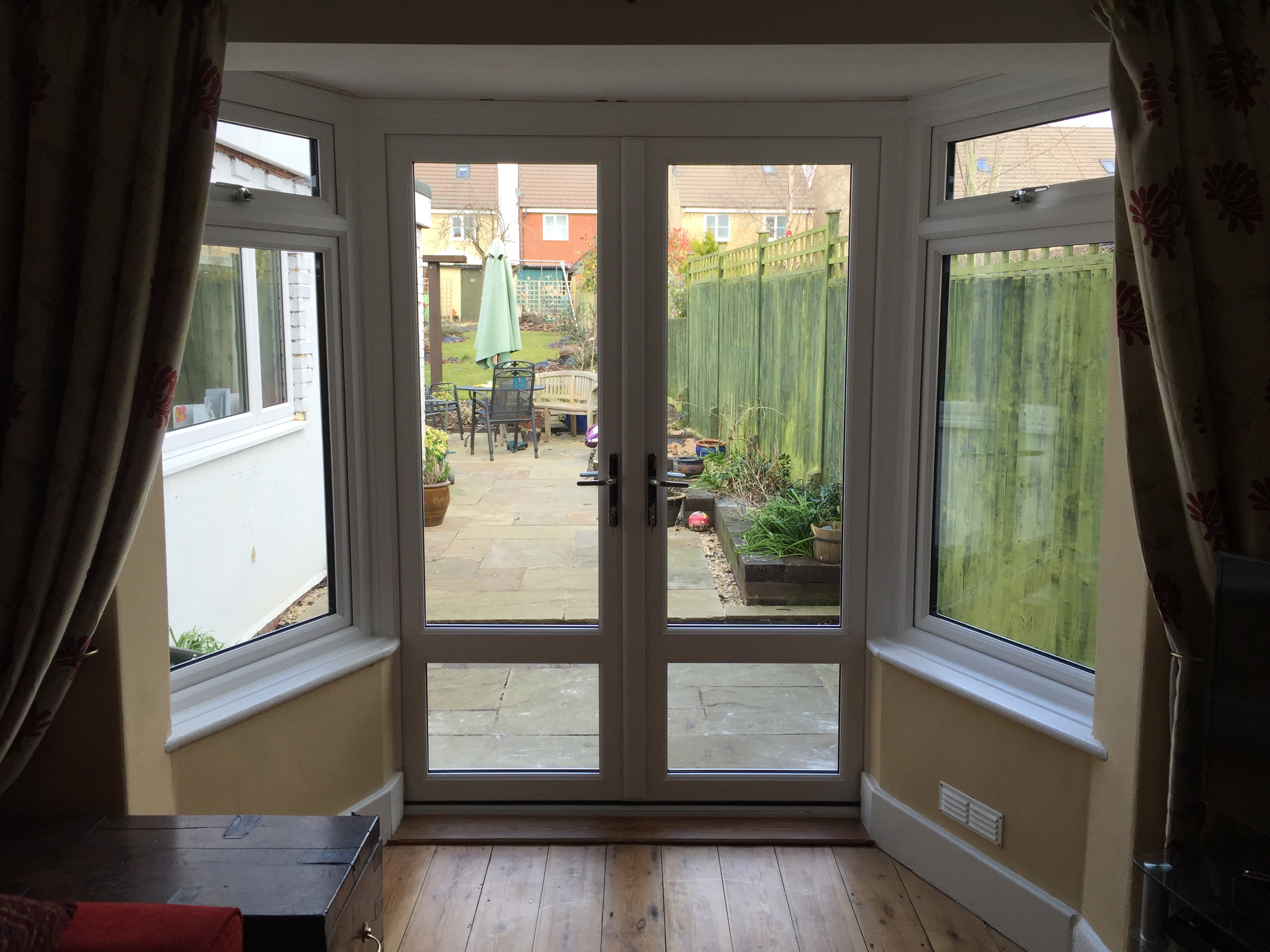 Newly installed French door bay