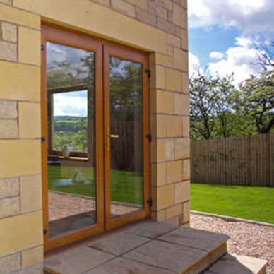 Golden oak coloured ouble glazed French doors