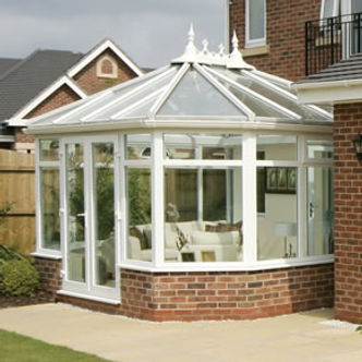 Double glazed white PVCU windows and glass roof