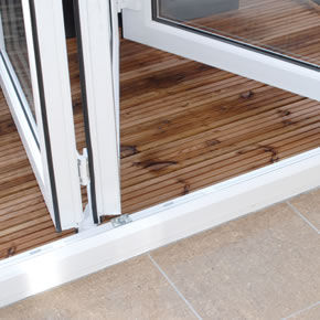 Double glazed bi-folding door close up