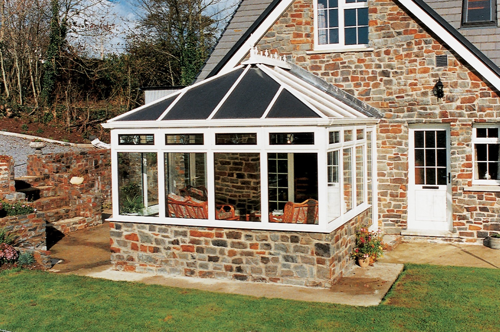 White PVCU with polycarbonate roof