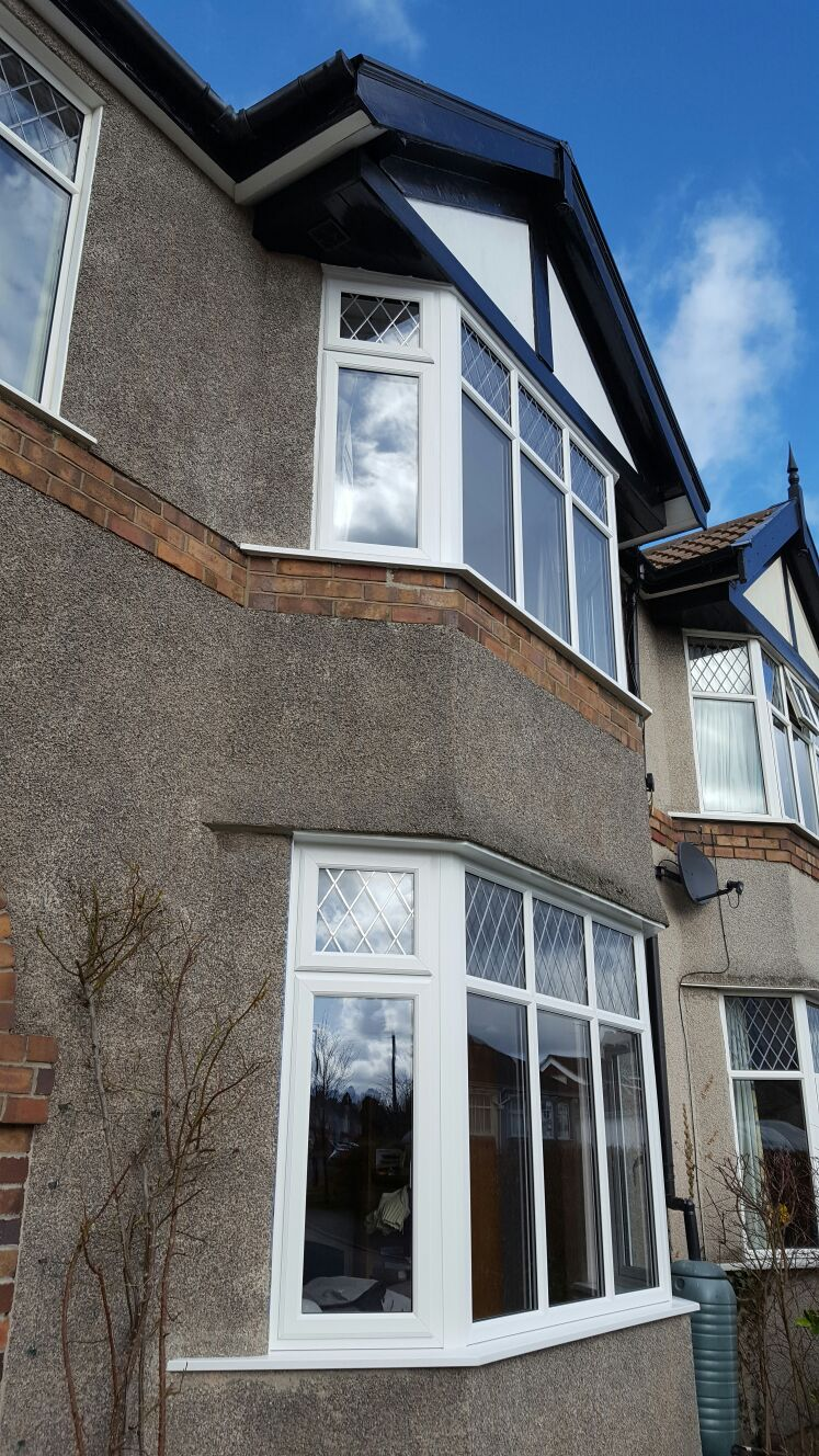 New double glazed bay windows, white