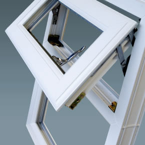 Double glazed casement window close up
