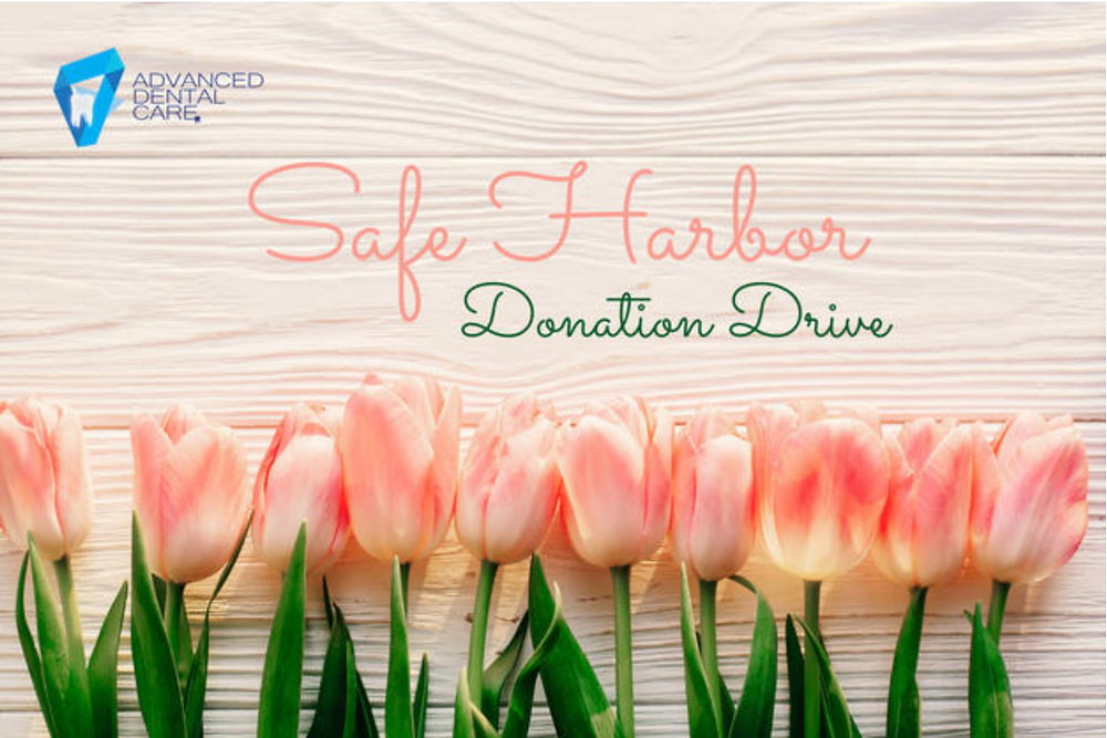 Safe Harbor Donation Drive with  a row of 10 pink/red tulips sponsored by advanced dental care clinic  in plymouth wisconsin