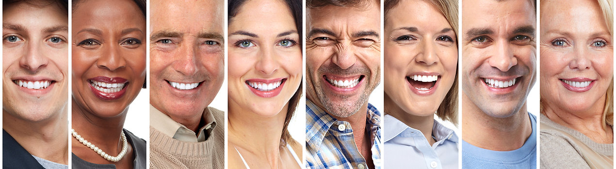 Teeth showing smiling people of different age, sex and tones