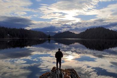 Man viewing beautiful scenery in southeast Alaska