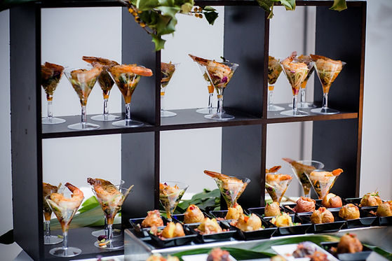 hors d'oeuvre, shrimp martini, catering