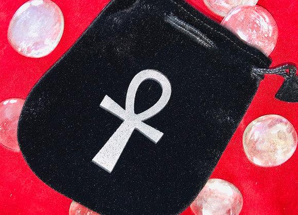 Black Velvet Ankh pouch with black drawstring.
