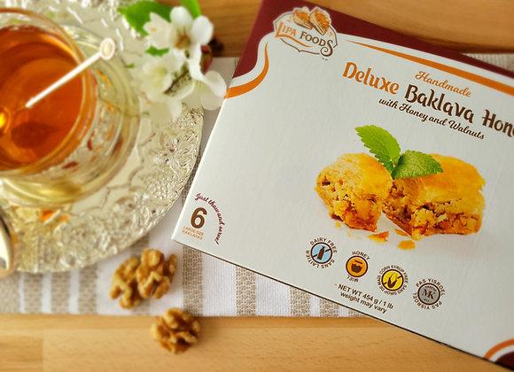 Deluxe Baklava Honey and Walnuts 1 Lb (454gr)