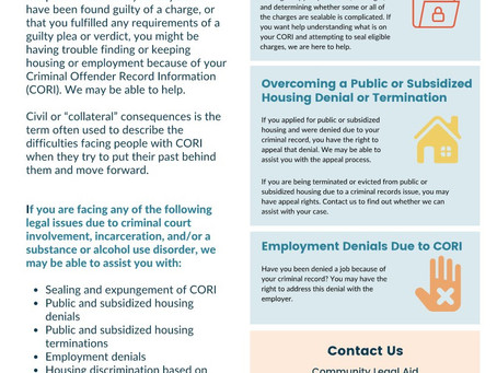 CORI & Reentry Project: Community Legal Aid