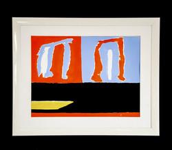 orange blue black white  48 x 36 cm  cm