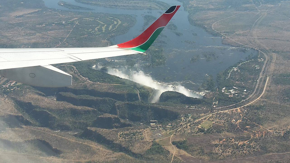 Chutes Victoria (Zimbabwe) depuis l'avion