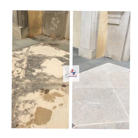 Soft Washing Limestone Walkway Dallas DFW