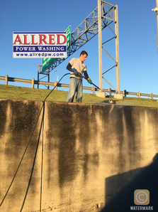Commercial pressure washing retaining  wall