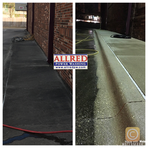 Sidewalk pressure washing before and after picture
