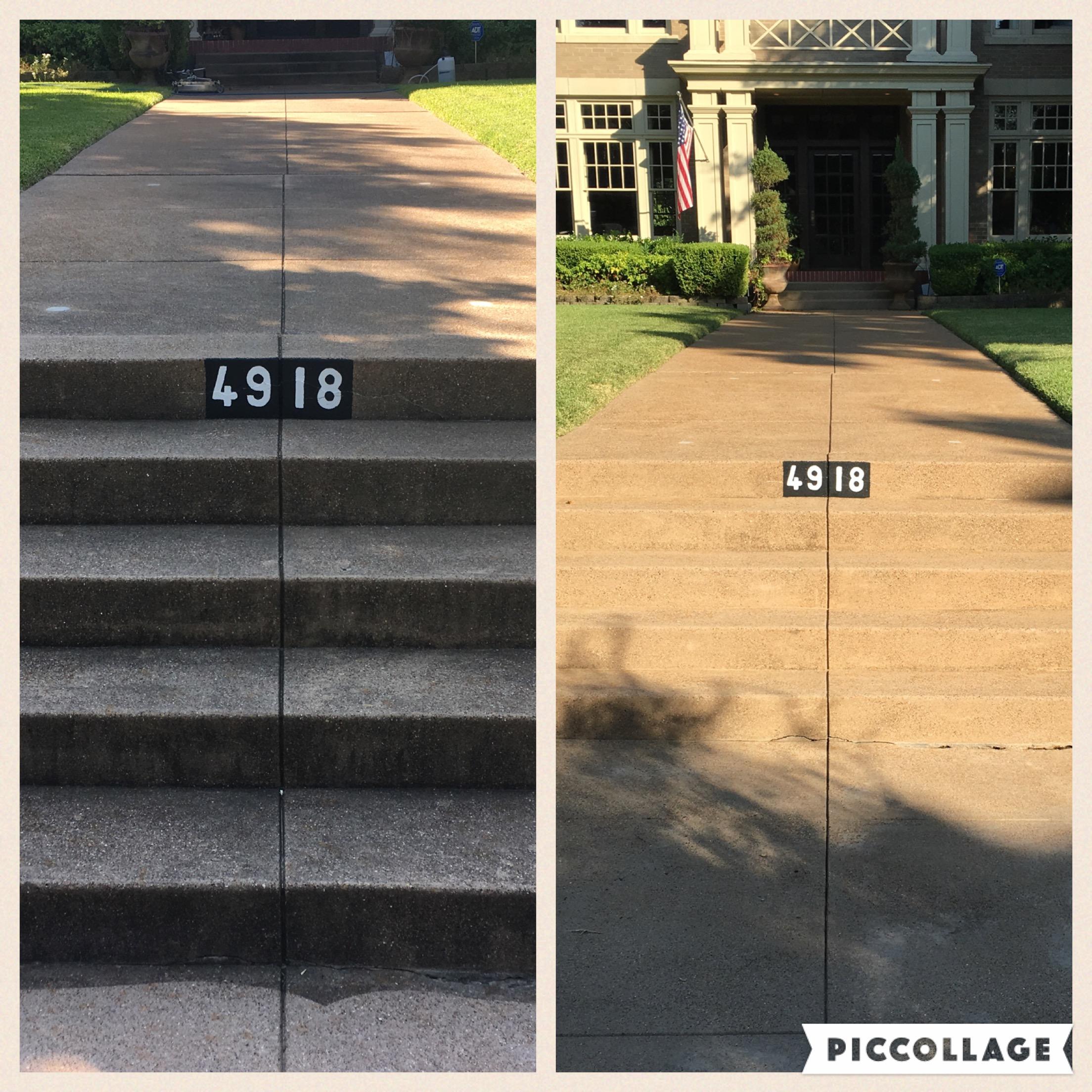 Pressure washing sidewalks