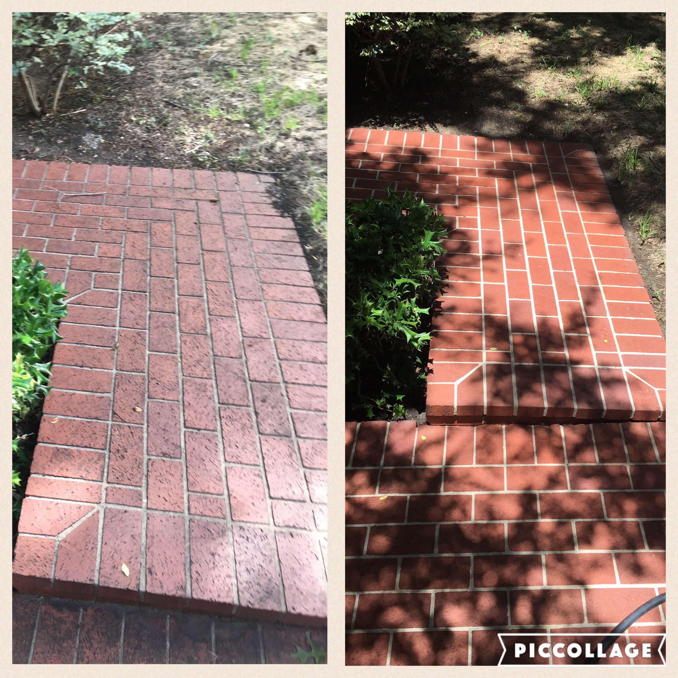 Brick walkway soft washing