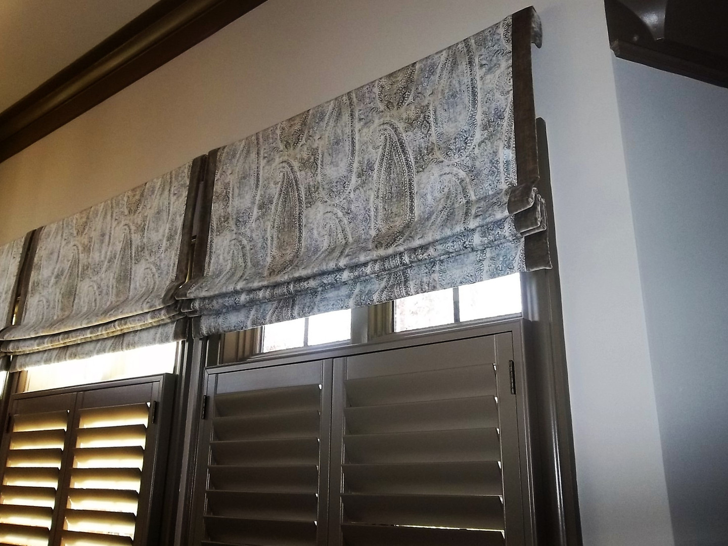 Faux roman shade with trim