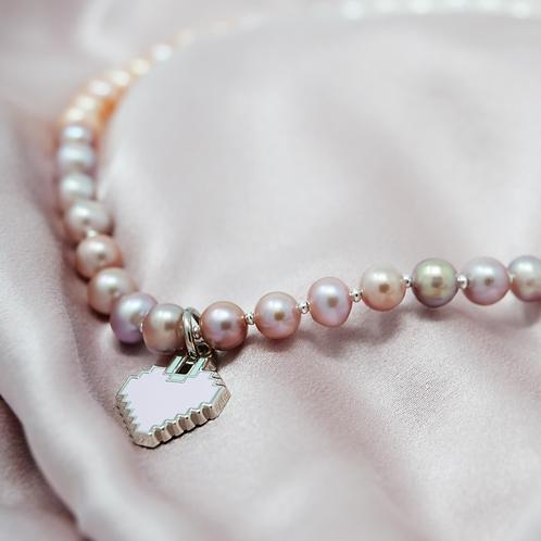 Love U 100%, Pearl Necklace with Heart Enamel Pendant, Multi Color