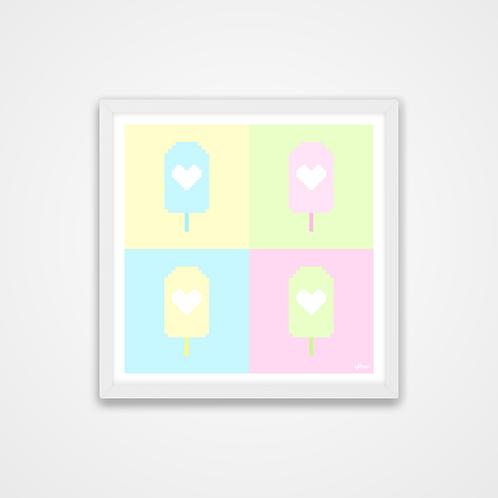 Love U 100%, Pastel Pixel Popsicles Print, 12 x 12'', Wall Print