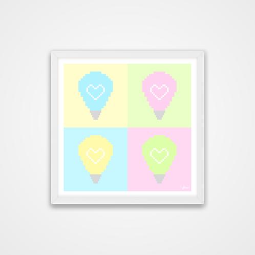 Love U 100%, Pastel Pixel Art Light Bulb Print, 12 x 12'', Wall Print