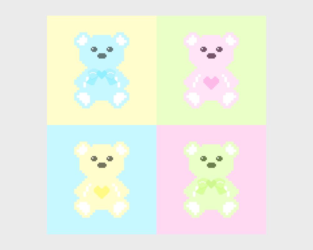 Love U 100% Pastel Pixel Bears by Yi Han