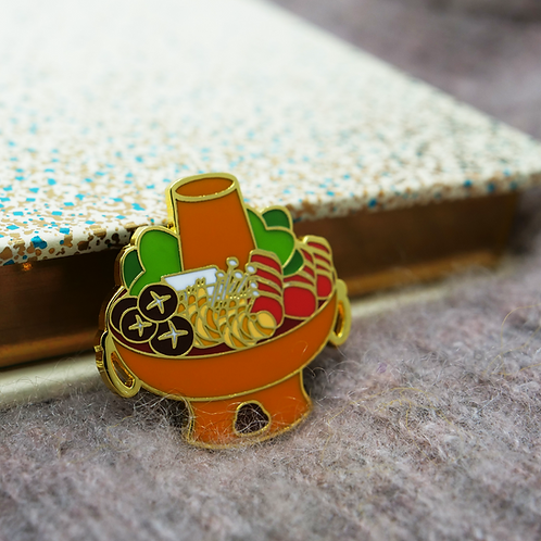 Yummy Now - Hot Pot, Premium Enamel Pin, Lapel Pin(Instant-boiled Mutton, Chines