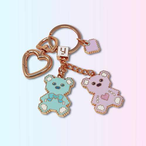 Love U 100% Bears Keychain, Enamel Bag Charm, Enamel Keychain, Rose Gold Finish