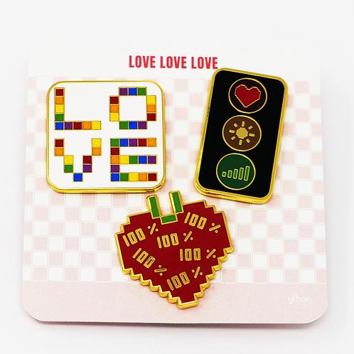 Love Love Love - Premium Enamel Pin Set, (Set of 3 pins)