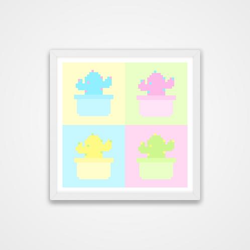 Love U 100%, Pastel Pixel Cacti Print, 12 x 12'', Wall Print