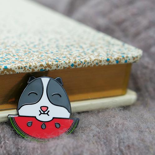 Guinea Pig Emoji - Watermelon, Premium Enamel Pin