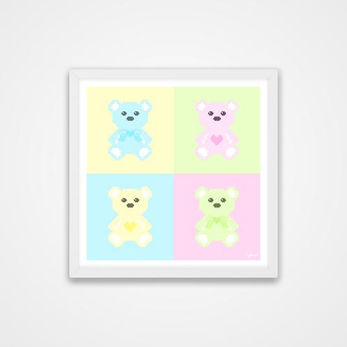 Love U 100%, Pastel Pixel Art Bears Print, 12 x 12'', Wall Print
