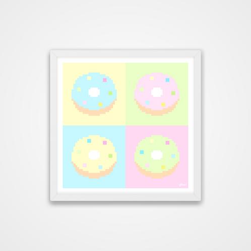 Love U 100%, Pastel Pixel Donuts Print, 12 x 12'', Wall Print