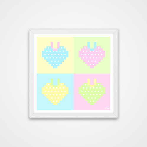 Love U 100%, Pastel Pixel Strawberry Hearts Print, 12 x 12'', Wall Print