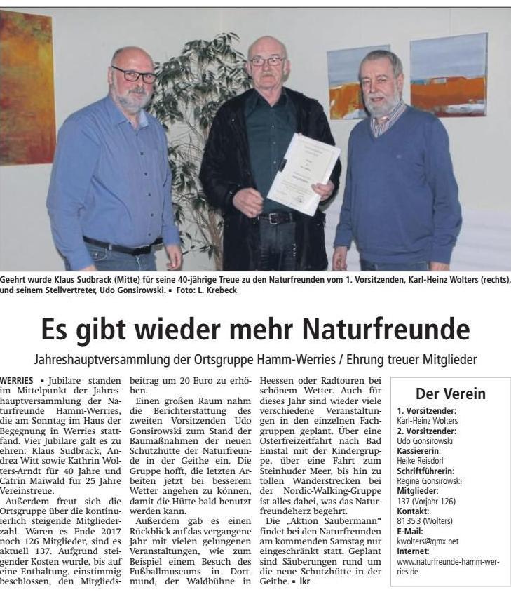 Jahreshauptversammlung der Ortsgruppe Hamm-Werries / Ehrung treuer Mitglieder