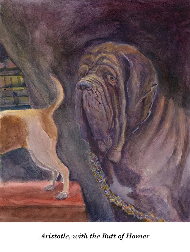 Arrangement in Greyhound & Black Lab