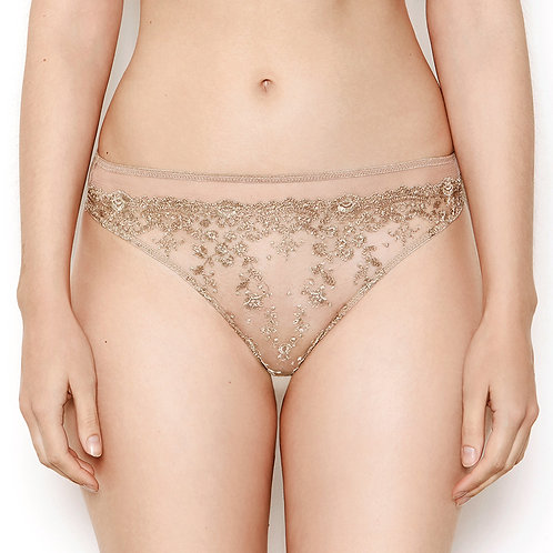 Katherine Hamilton Abrielle Gold Embroidered Thong